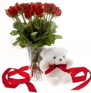 Ankara çiçek satışı  8 adet kirmizi gül ve pelus ayicik  Ankara çiçek siparişi vermek