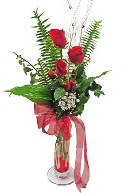 Çiçek gönderin cam vazoda 3 gül çiçekleri  Ankara çiçek siparişi sitesi