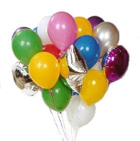 30 adet farkli kalite ve renklerde balon buketi