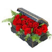 Sandik içerisinde 21 adet kirmizi gül  Ankara çiçek siparişi sitesi