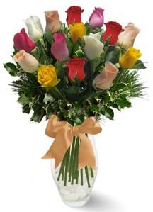15 adet vazoda renkli gül  Ankara internetten çiçek satışı