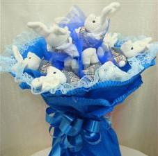 7 adet pelus ayicik buketi  Ankara çiçek , çiçekçi , çiçekçilik