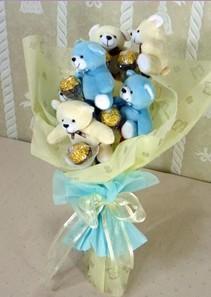 6 adet pelus ayicik buketi  Ankara çiçek online çiçek siparişi