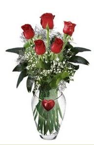 Ankara internetten çiçek siparişi  5 adet kirmizi gül ve kalp çubuklu