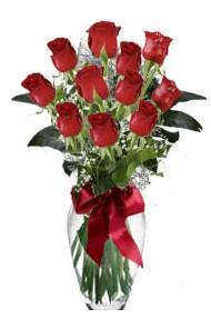 11 adet kirmizi gül vazo mika vazo içinde  Ankara 14 şubat sevgililer günü çiçek
