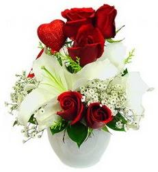 5 adet kirmizi gül 1 adet kazablanka çiçegi  Ankara çiçek siparişi sitesi