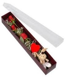 kutu içerisinde 3 adet gül ve oyuncak  Ankara cicekciler , cicek siparisi