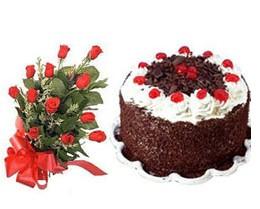 Ankara ucuz çiçek gönder  10 adet kirmizi gül buketi ve yaspasta