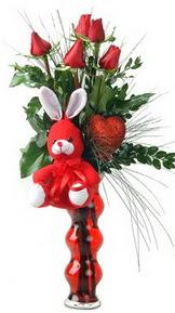 Ankara çiçekçiler  Vazo içinde 5 adet gül ( pelus kalp çubuk )