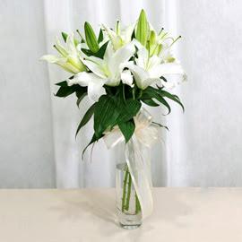 Ankara anneler günü çiçek yolla  2 dal kazablanka ile yapılmış vazo çiçeği