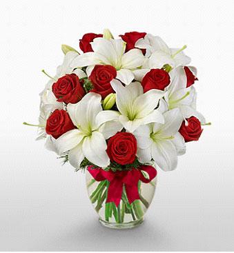 Ankara İnternetten çiçek siparişi  1 dal kazablanka 11 adet kırmızı gül vazosu