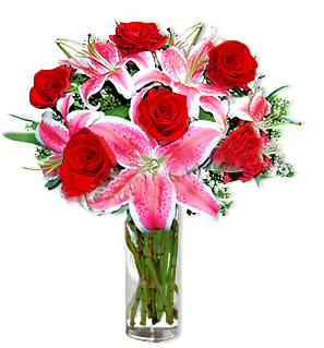 Ankara çiçek yolla  1 dal cazablanca ve 6 kırmızı gül çiçeği