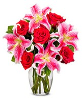 Vazoda 5 adet kırmızı gül 2 dal kazablanka  Ankara çiçekçi mağazası