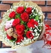 7 adet kırmızı gül 2 adet 10 cm ayı buketi  Ankara çiçek siparişi vermek