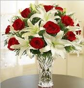 12 adet kırmızı gül 2 dal kazablanka vazosu  Ankara çiçek satışı
