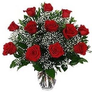 Ankara çiçekçi mağazası  12 adet kırmızı gülden vazo tanzimi