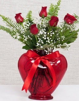 Kalp içerisinde 5 adet kırmızı gül  Ankara çiçekçi telefonları