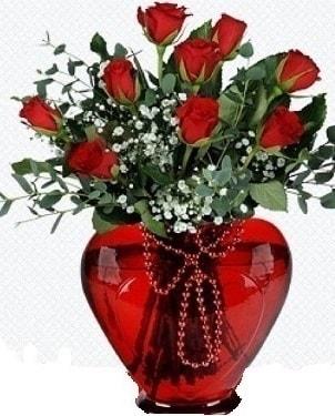 Kalp cam mika içinde 9 adet kırmızı gül  Ankara internetten çiçek satışı