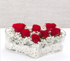 kalp içerisinde 7 adet kırmızı gül  Ankara çiçek siparişi vermek