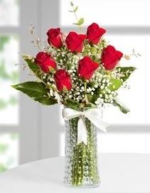 Cam vazoda 7 adet kırmızı gül  Ankara çiçek , çiçekçi , çiçekçilik