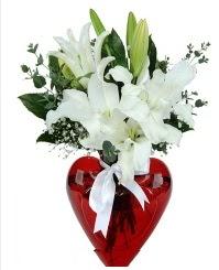Kalp vazoda 3 kazablanka çiçeği  Ankara hediye çiçek yolla
