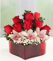 3 kandil orkide 5 kırmızı gül kalp mika  Ankara internetten çiçek satışı