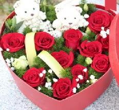 2 adet ayıcık 9 kırmızı gül kalp içerisinde  Ankara internetten çiçek satışı