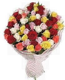 51 adet rengarenk gül buketi  Ankara çiçek mağazası , çiçekçi adresleri