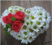 3 adet kırmızı gül mika kalptte papatyalar  Ankara internetten çiçek satışı