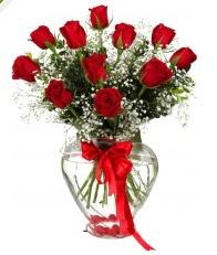 9 adet kırmızı gül cam kalpte  Ankara online çiçekçi , çiçek siparişi