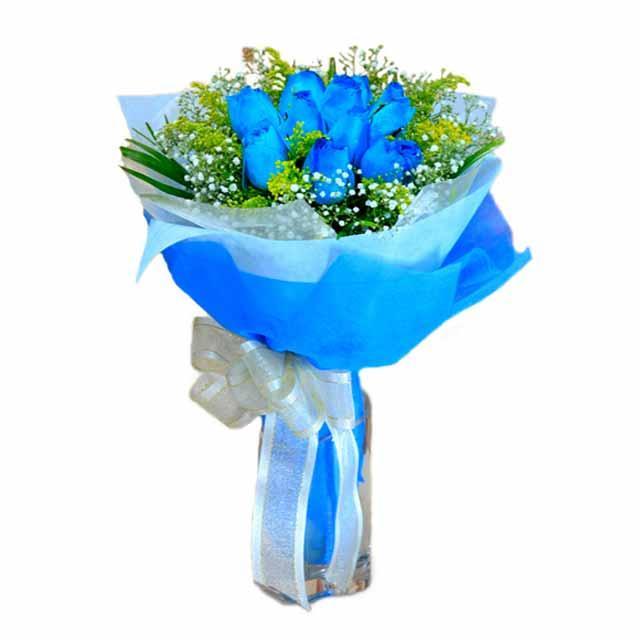 7 adet mavi gül buketi  Ankara çiçek , çiçekçi , çiçekçilik