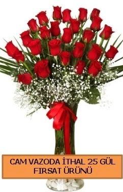 Cam vazoda ithal 1. kalite 25 gül  Ankara internetten çiçek satışı