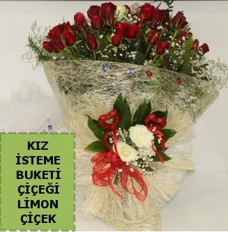 27 adet kırmızı gülden kız isteme buketi  Ankara çiçek satışı