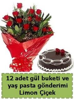 12 adet kırmızı gül buketi ve yaş pasta  Ankara çiçek gönderme sitemiz güvenlidir