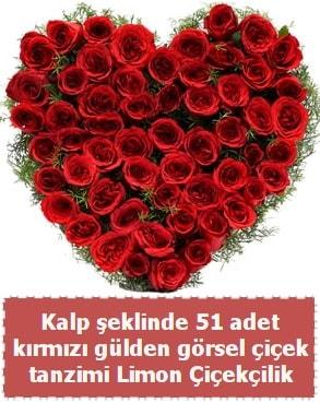 51 kırmızı gülden kalp şeklinde çiçek tanzim  Ankara çiçek satışı