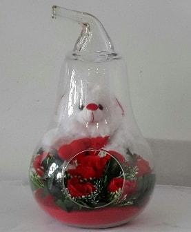 Orta boy cam armut Ayıcık ve yapay güller  Ankara çiçekçi telefonları