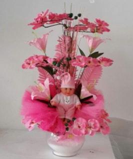 Pembe cam bebekli bebek doğum çiçeği  Ankara çiçek satışı