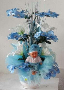 Mavi cam bebekli bebek doğum çiçeği  Ankara çiçek satışı