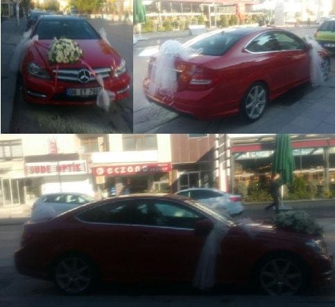 Gelin arabası süslemesi Düğün araba süs  Ankara çiçekçi telefonları
