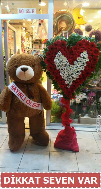 1.5 Metre peluş ayı ve Kalp  Ankara çiçek gönderme sitemiz güvenlidir