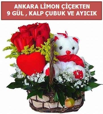 Kalp çubuk sepette 9 gül ve ayıcık  Ankara çiçekçi telefonları