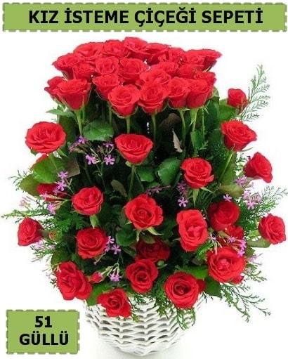 51 ADET KIRMIZI GÜLDEN KIZ İSTEME SEPETİ  Ankara çiçek yolla