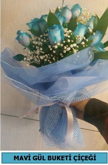 12 adet mavi gülden mavi buket  Ankara çiçekçi telefonları
