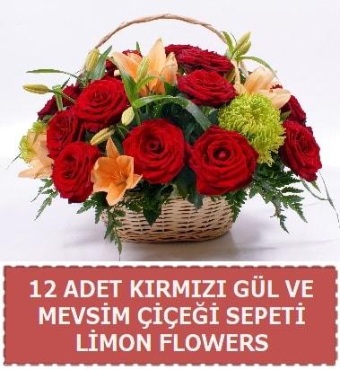 12 gül ve mevsim çiçekleri sepeti  Ankara İnternetten çiçek siparişi