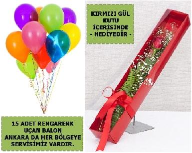 15 Adet uçan balon ve kutuda kırmızı gül  Ankara çiçek , çiçekçi , çiçekçilik