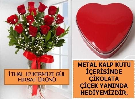 12 adet kırmızı gül ve kalp kutuda çikolata  Ankara çiçekçi telefonları