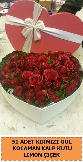 51 adet kırmızı gül kocaman kalp kutu  Ankara çiçek gönderme