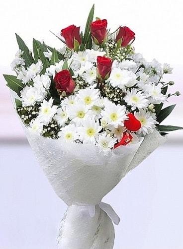 Sevdiğime papatya ve 5 kırmızı gül buketi  Ankara çiçekçi mağazası