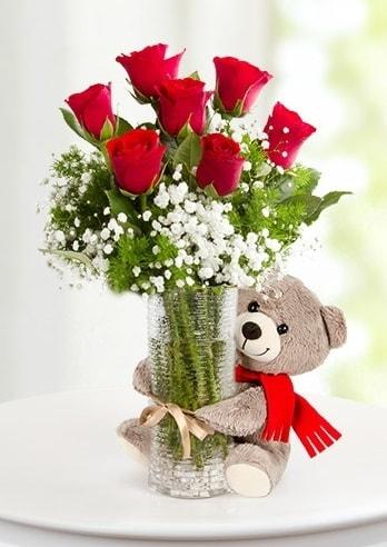 Cam vazoda 7 kırmızı gül ve peluş ayı  Ankara çiçekçi telefonları