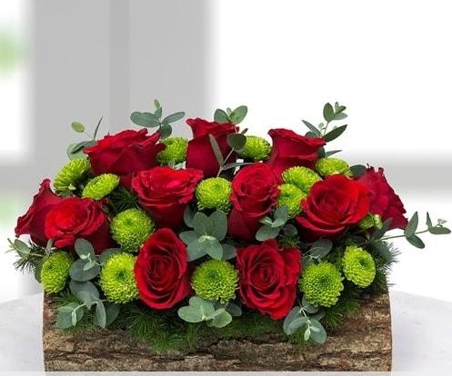Silindir kütükte 11 kırmızı gül ve krizantem  Ankara internetten çiçek satışı